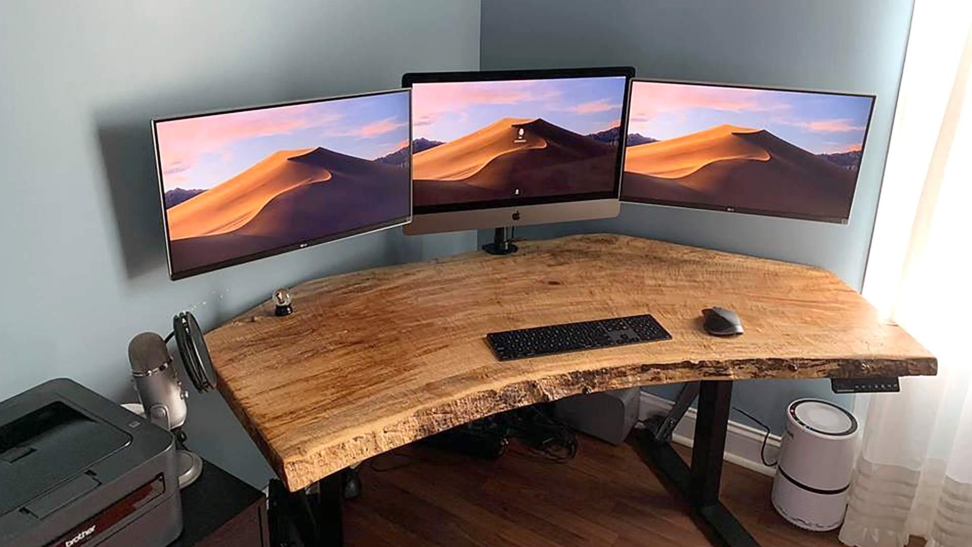 Beautiful custom desktop built on a SmartDesk DIY Kit standing desk frame.
