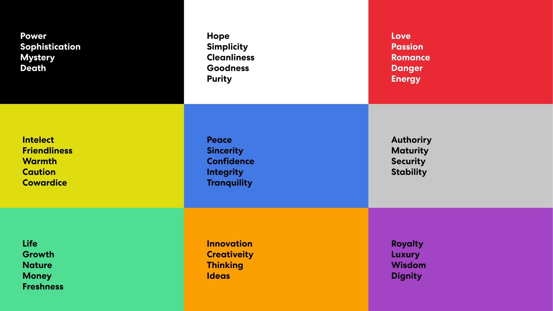 Office design color attributes chart.