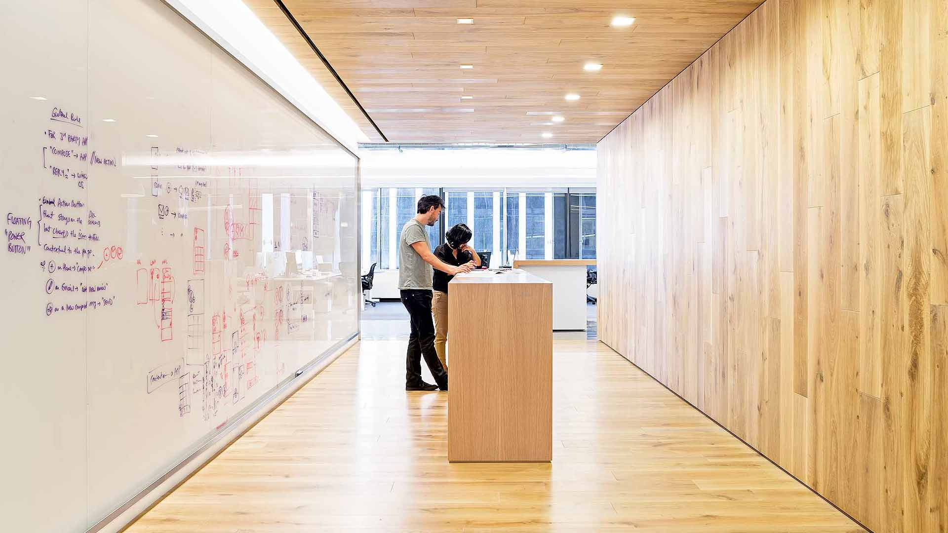 Whiteboard walls for small office spaces.