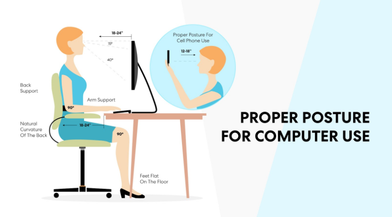 The proper office chair posture to prevent tailbone pain.