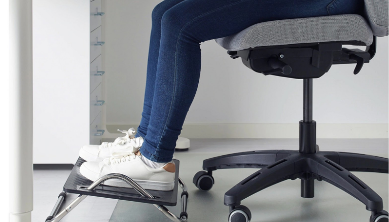 A footstool or footrest can help to improve your posture while working.