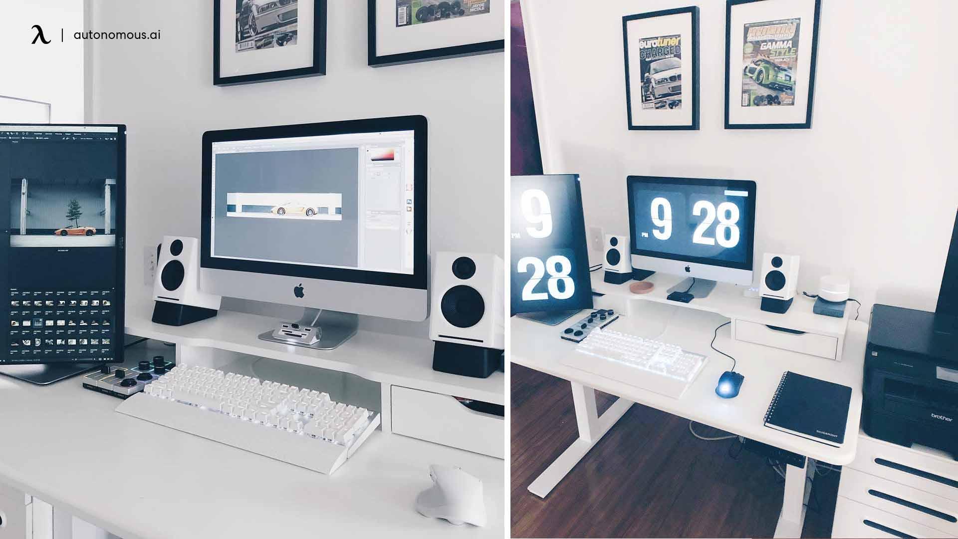 minimalist office desk setup