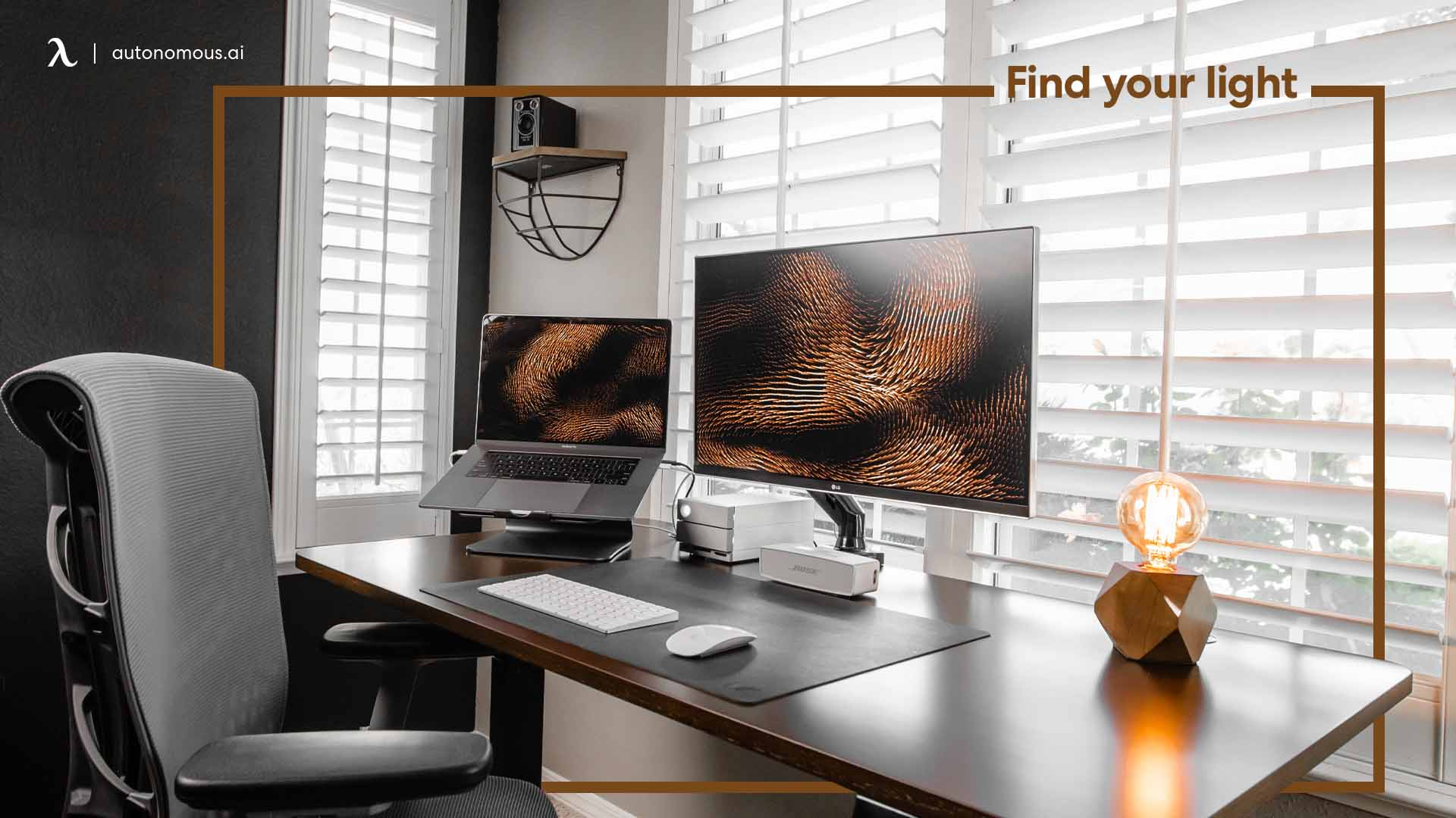 Natural and artificial light for productive desk setup