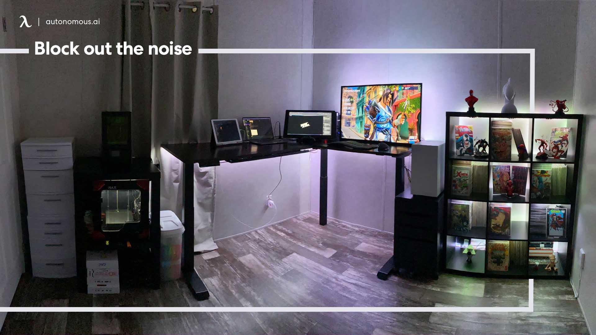 Setup productive desk with noise blocking accessories