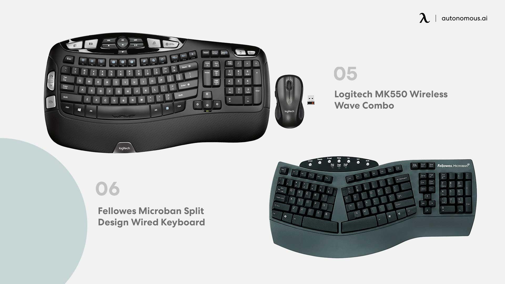 Photo of logitech MK550 and Fellowes Microban split design