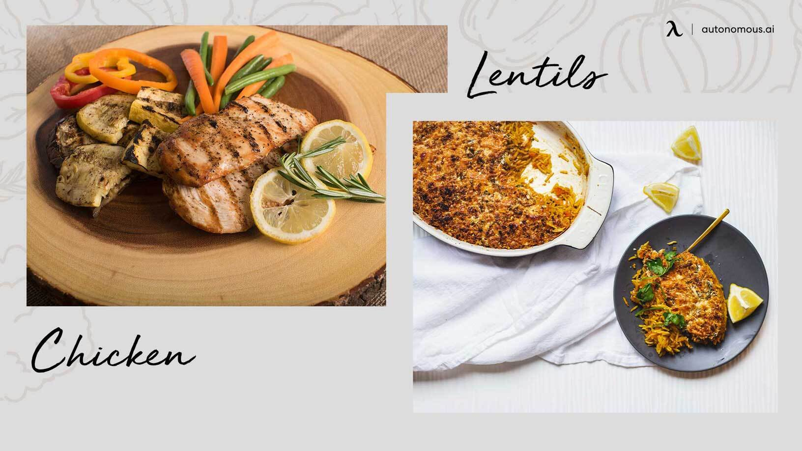 Photo of great snacks for work Lentils and chicken