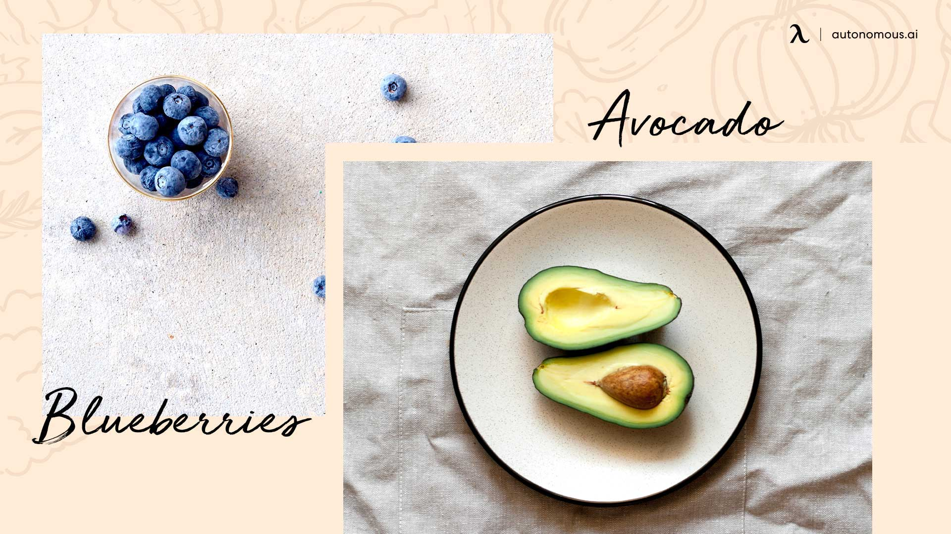 Photo of great snacks for work blueberries and avocado
