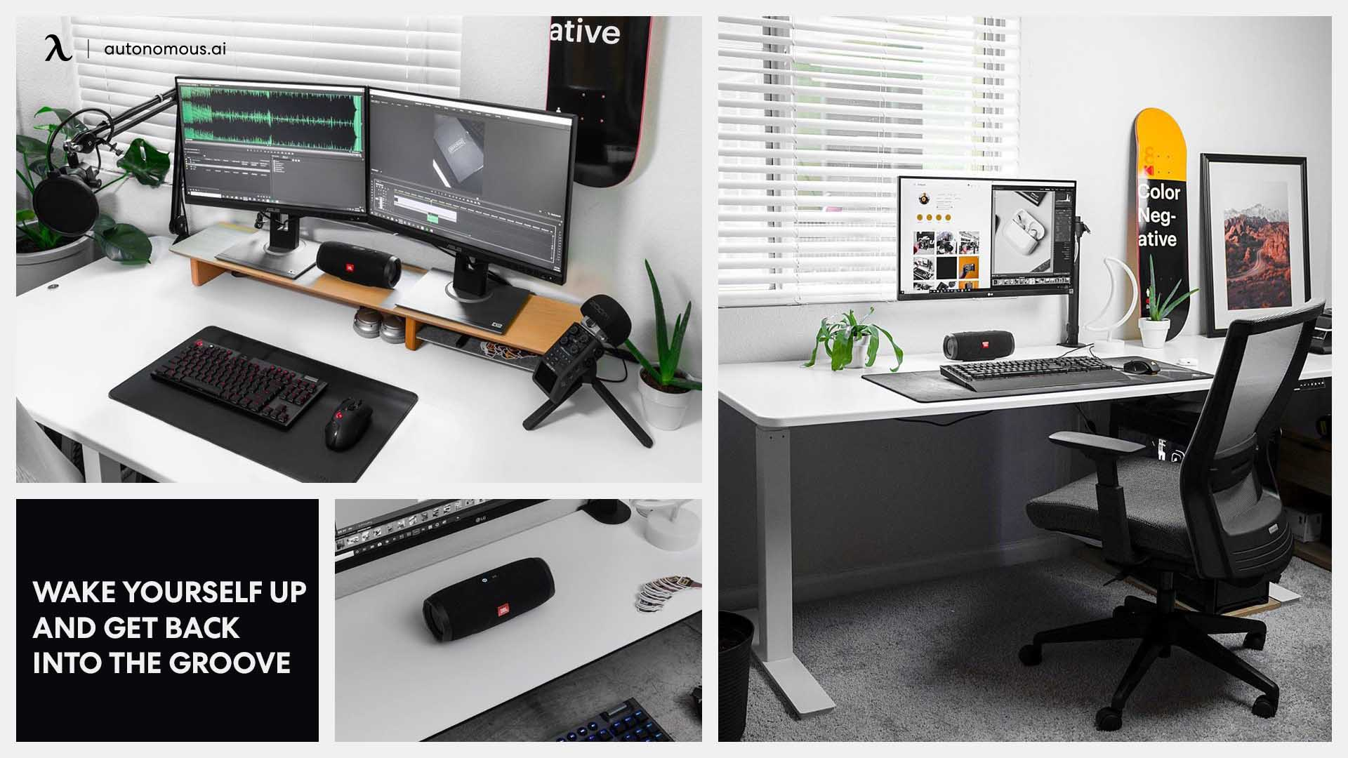 Photo of desk setup for artist wake yourself up