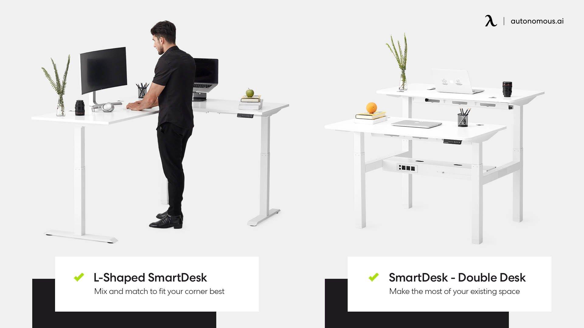 Photo of L-shaped standing desk, double desk