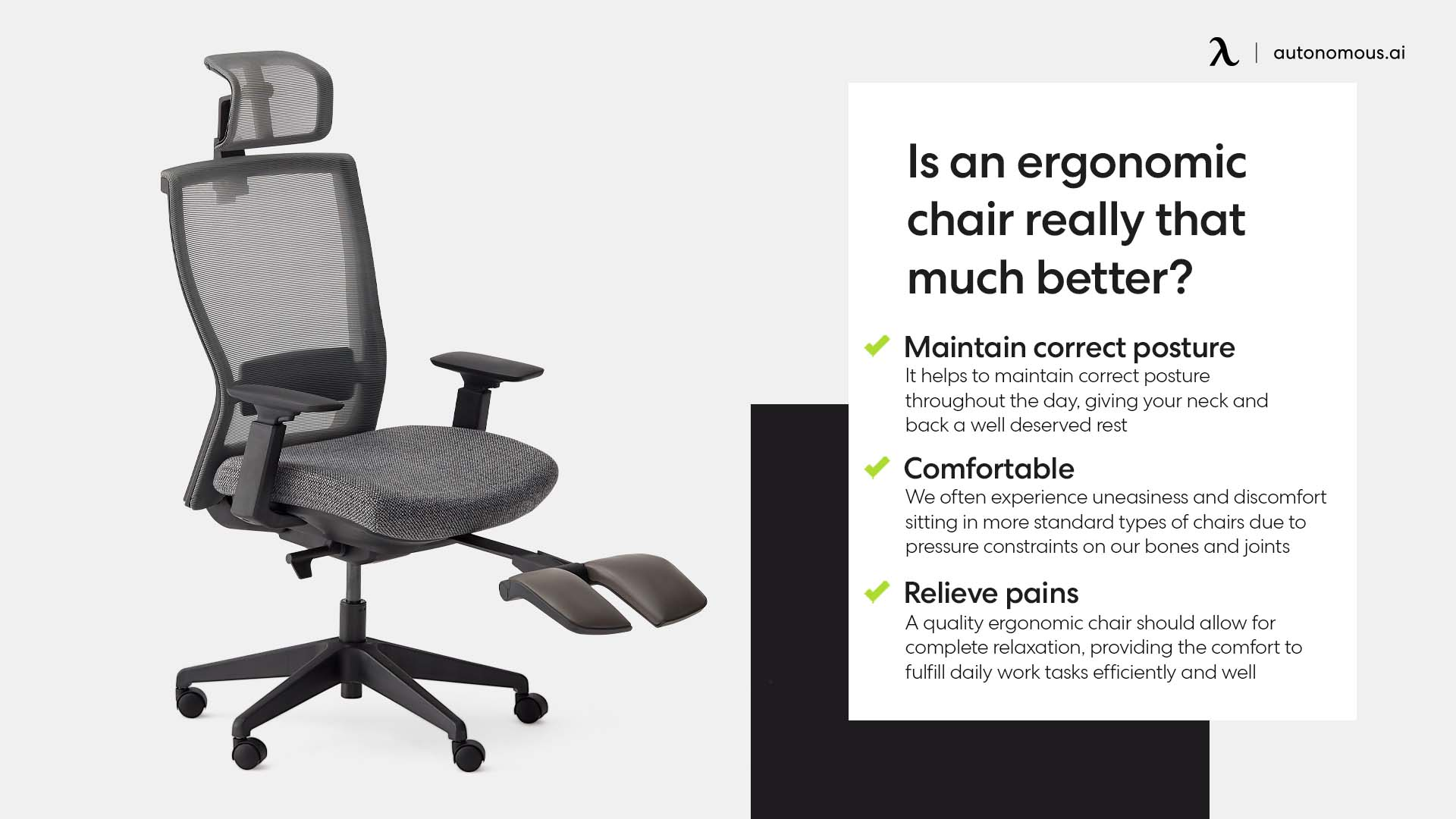 Photo of an ergonomic chair features that much better