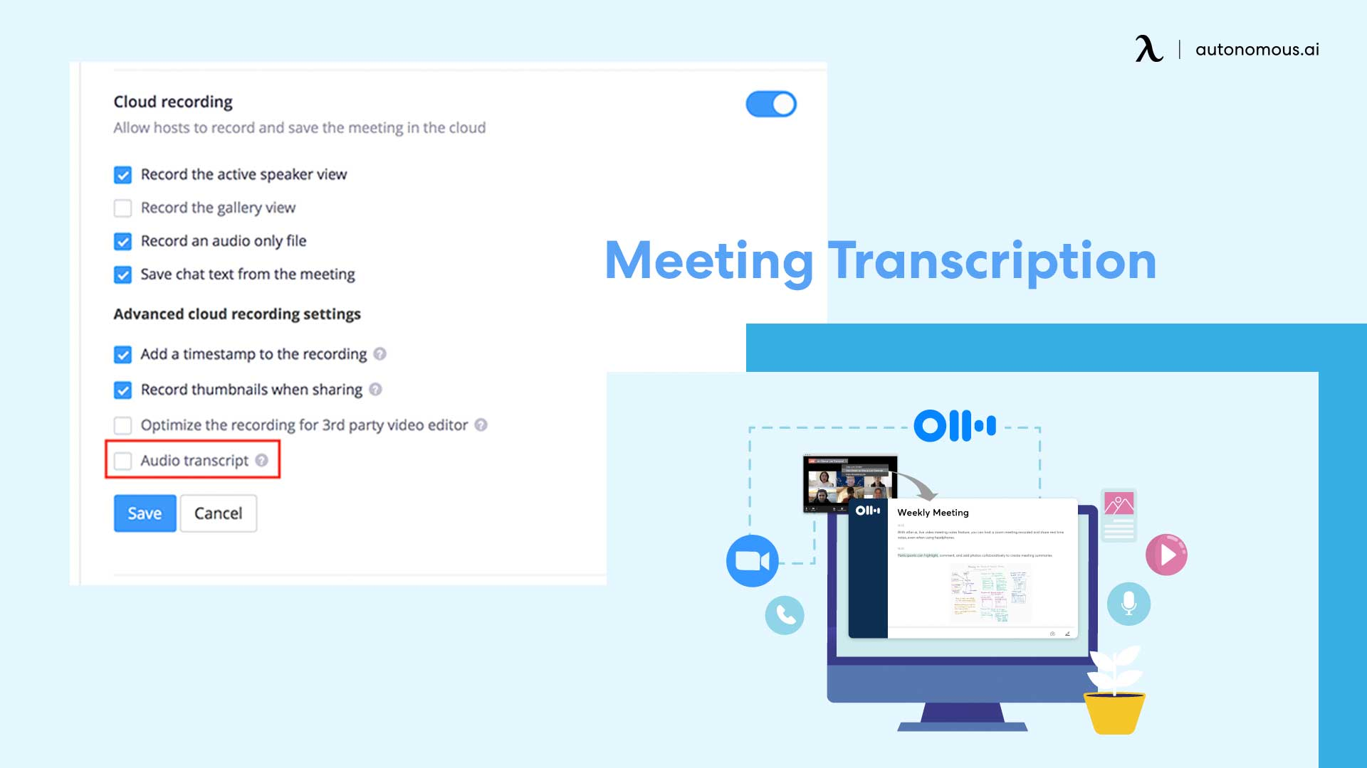 Photo of Zoom feature Meeting transcription