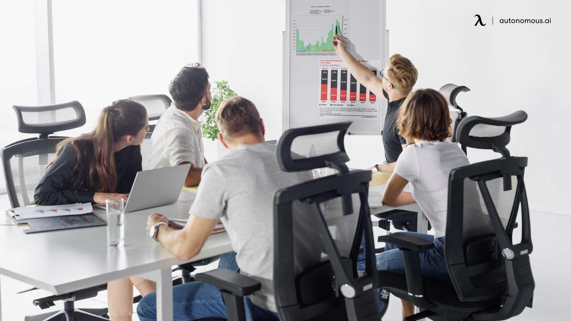 Team work at smart desk