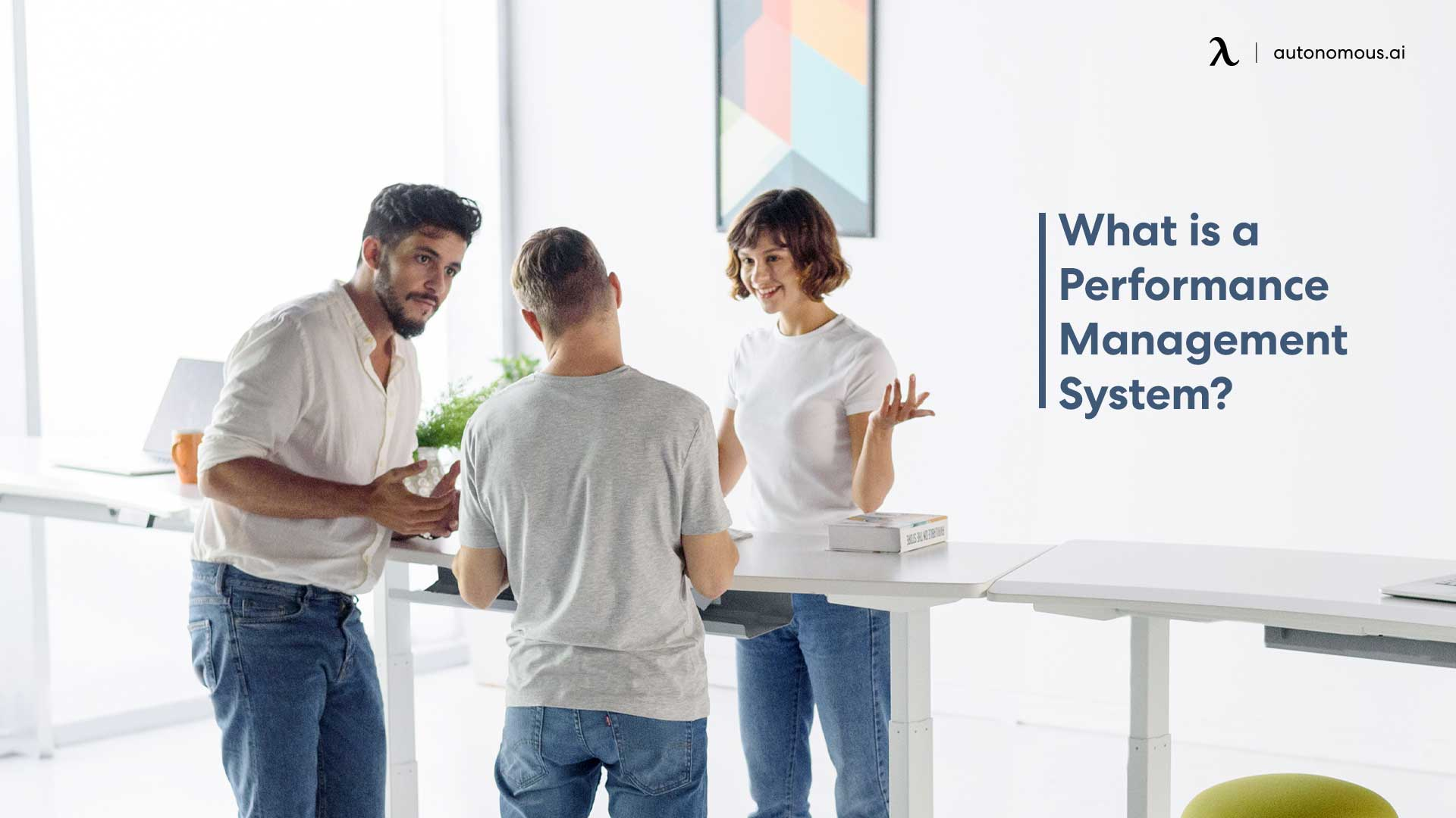 People standing at smart desk
