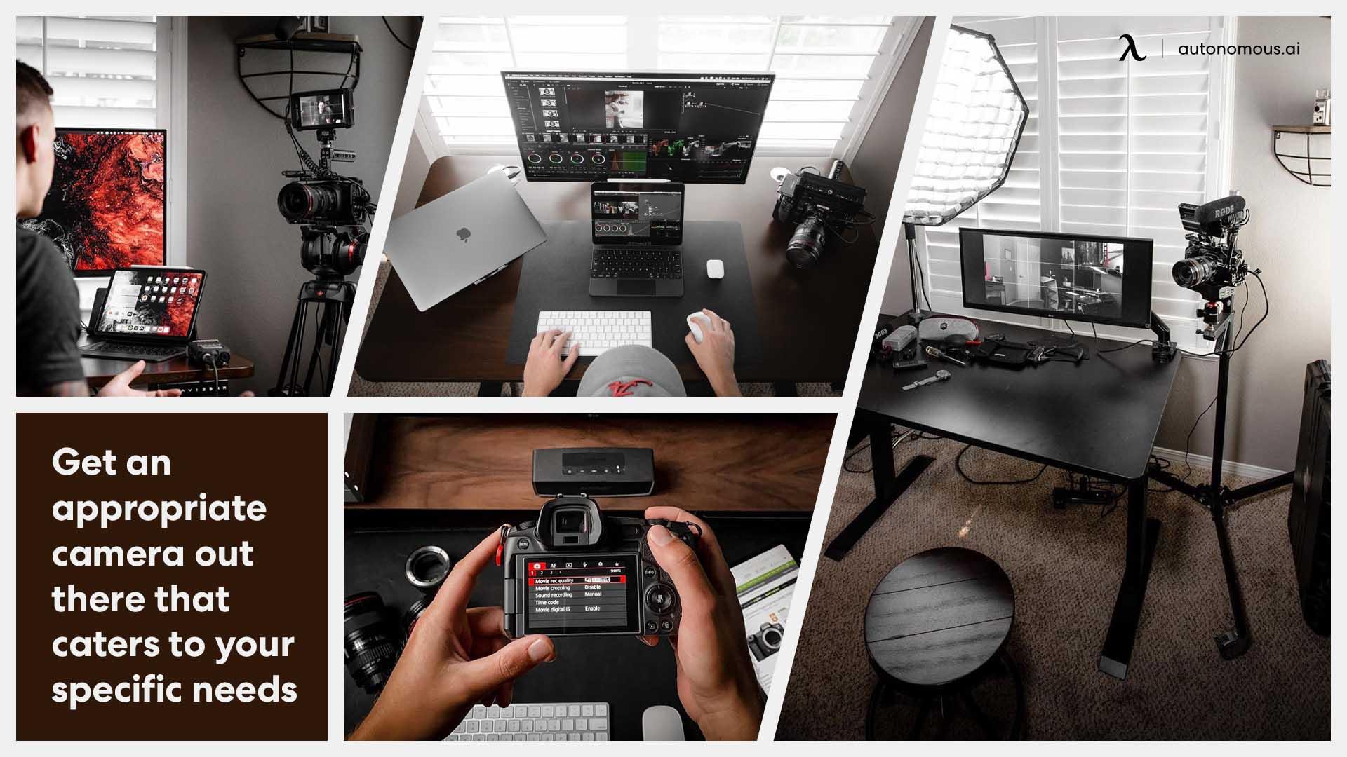 Desk setup with camera