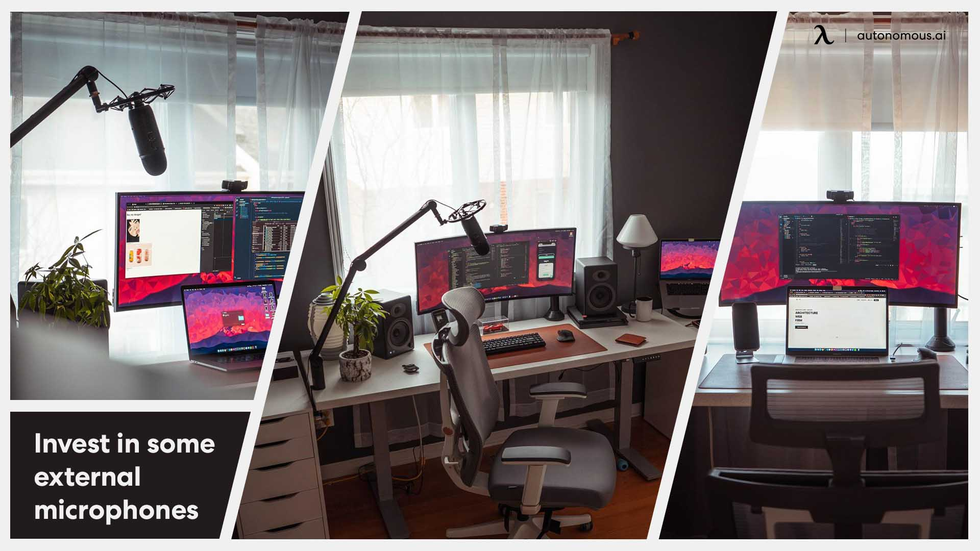 Desk setup with microphone