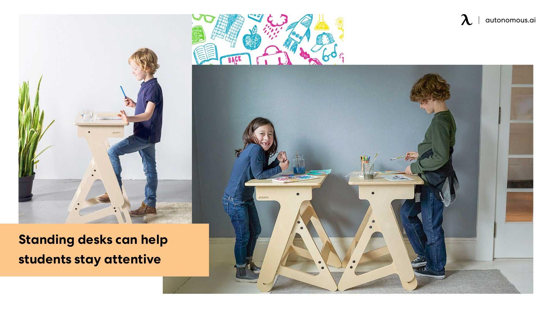 Children with wooden standing desks