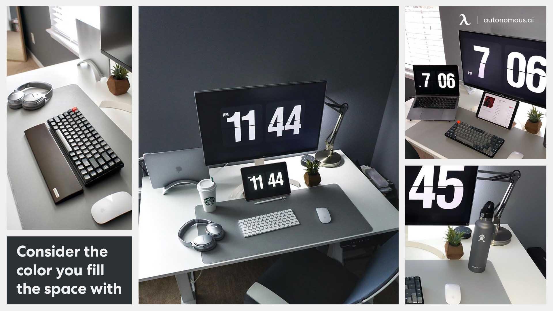 Desk setup with bright color