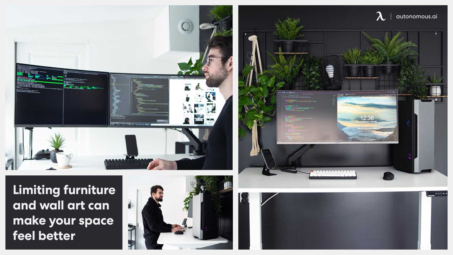 Home office with green trees & dual screen