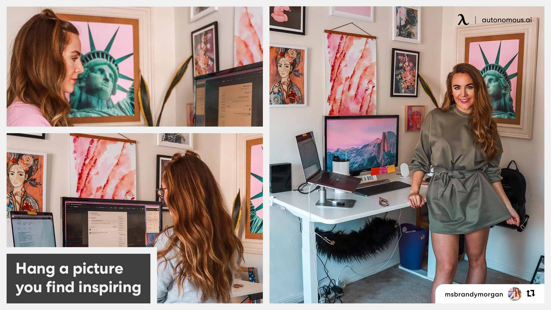 Creative workspace with art