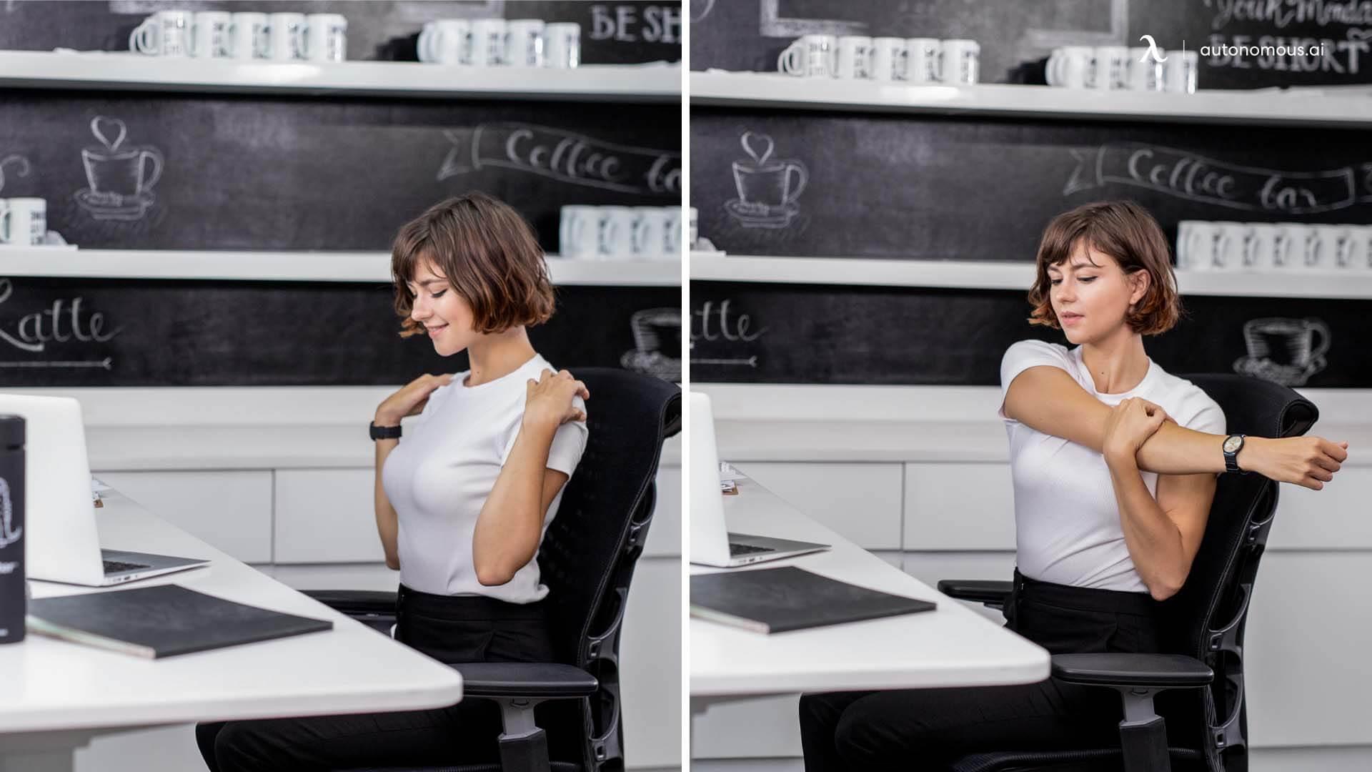 Do shoulder rolls while using standing desk