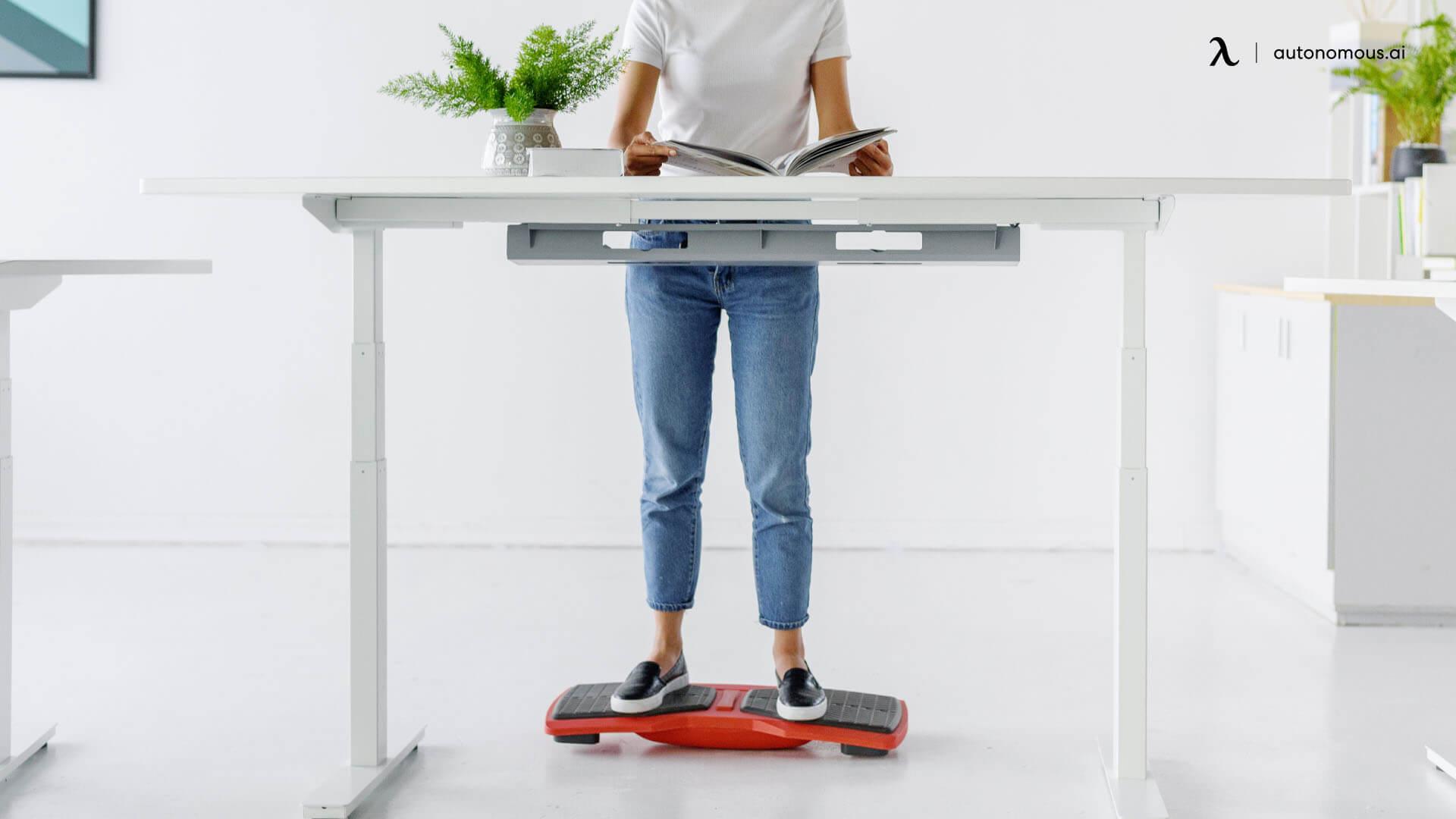 Balance board for standing desk