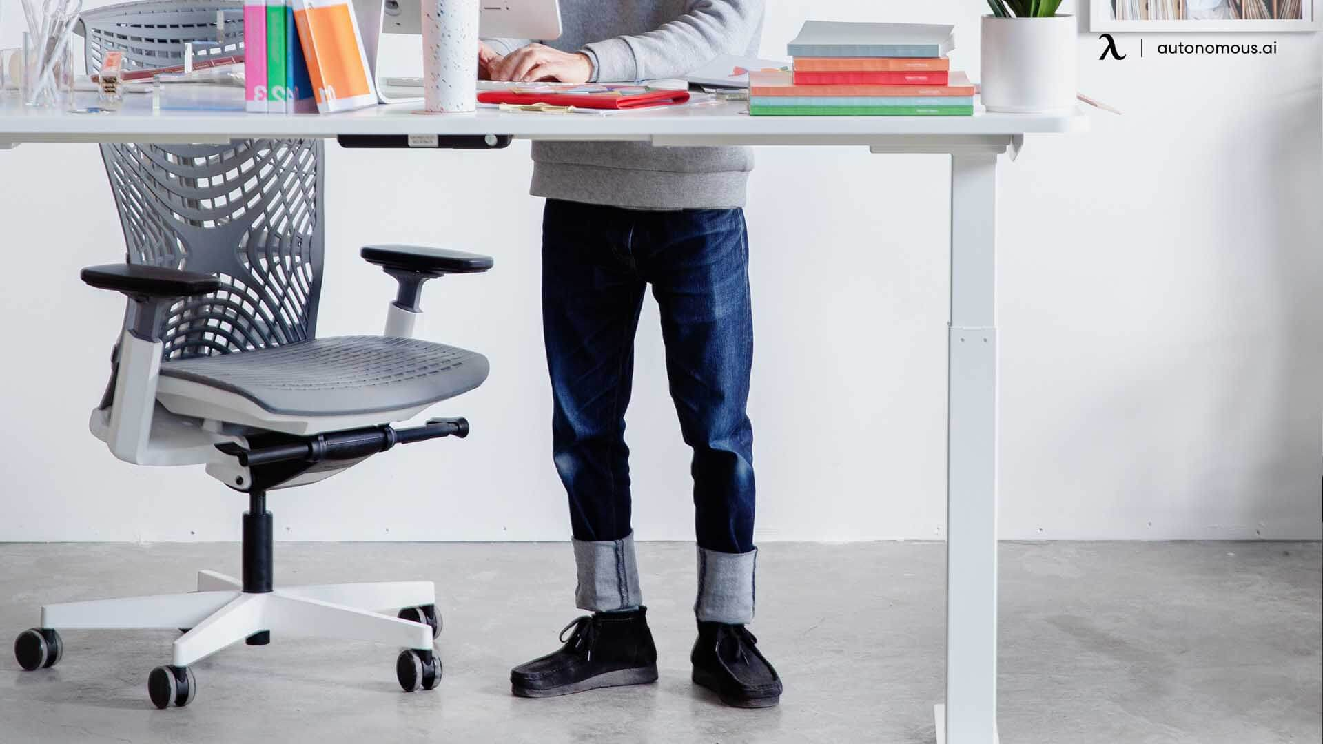 Comfortable footwear while using standing desk