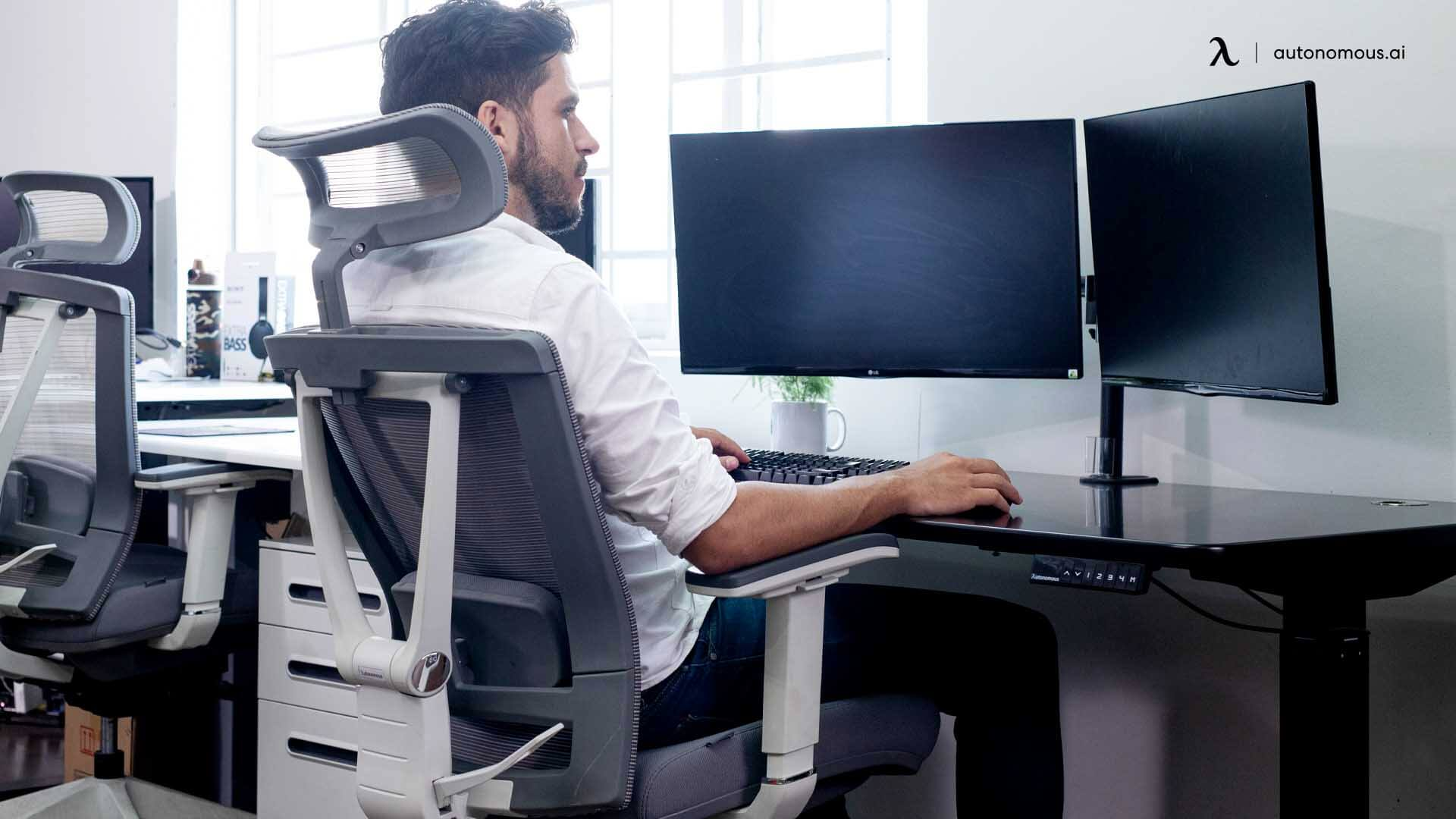 Using ergonomic chair with a standing desk