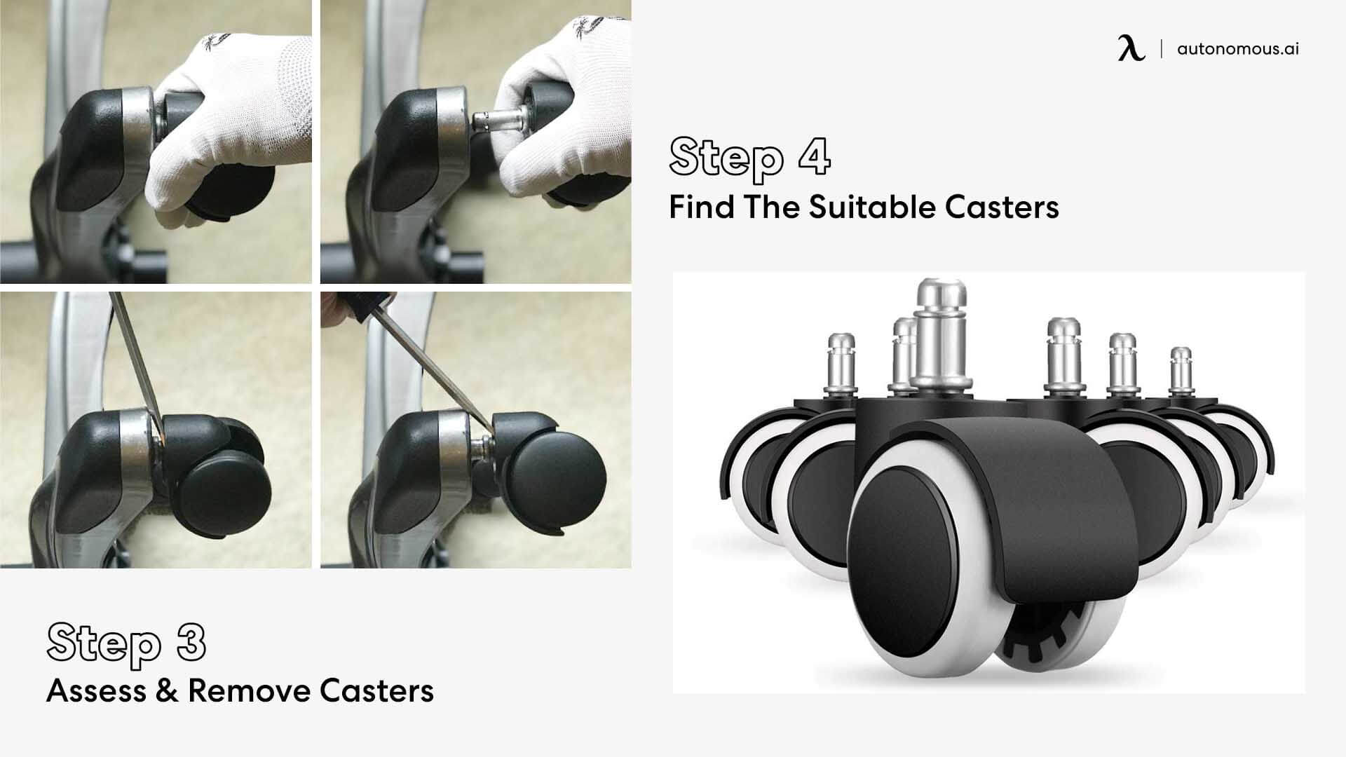 Remove office chair wheels and find suitable casters