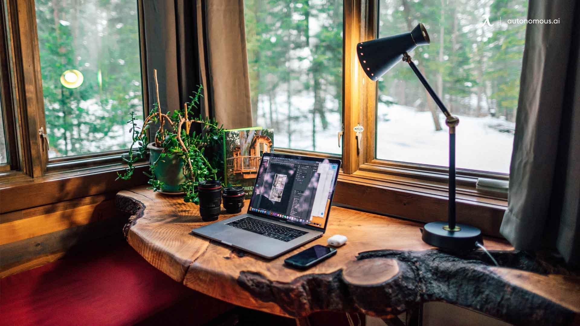 Photo of Live-Edge Wooden Desktop