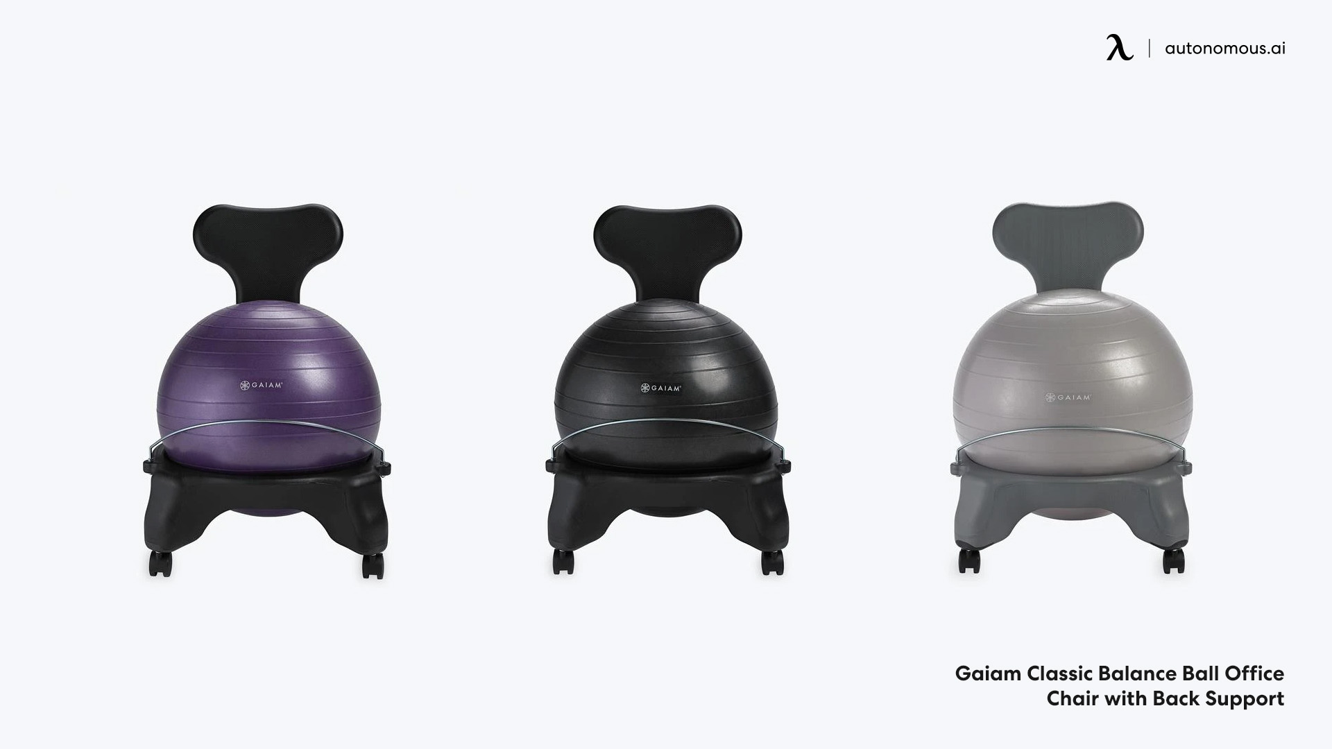 Balance ball office chair with back support
