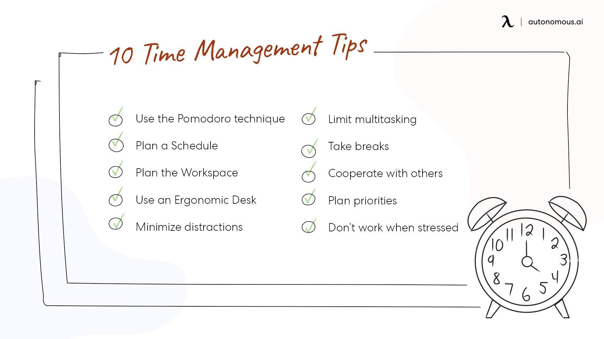 Include time management techniques