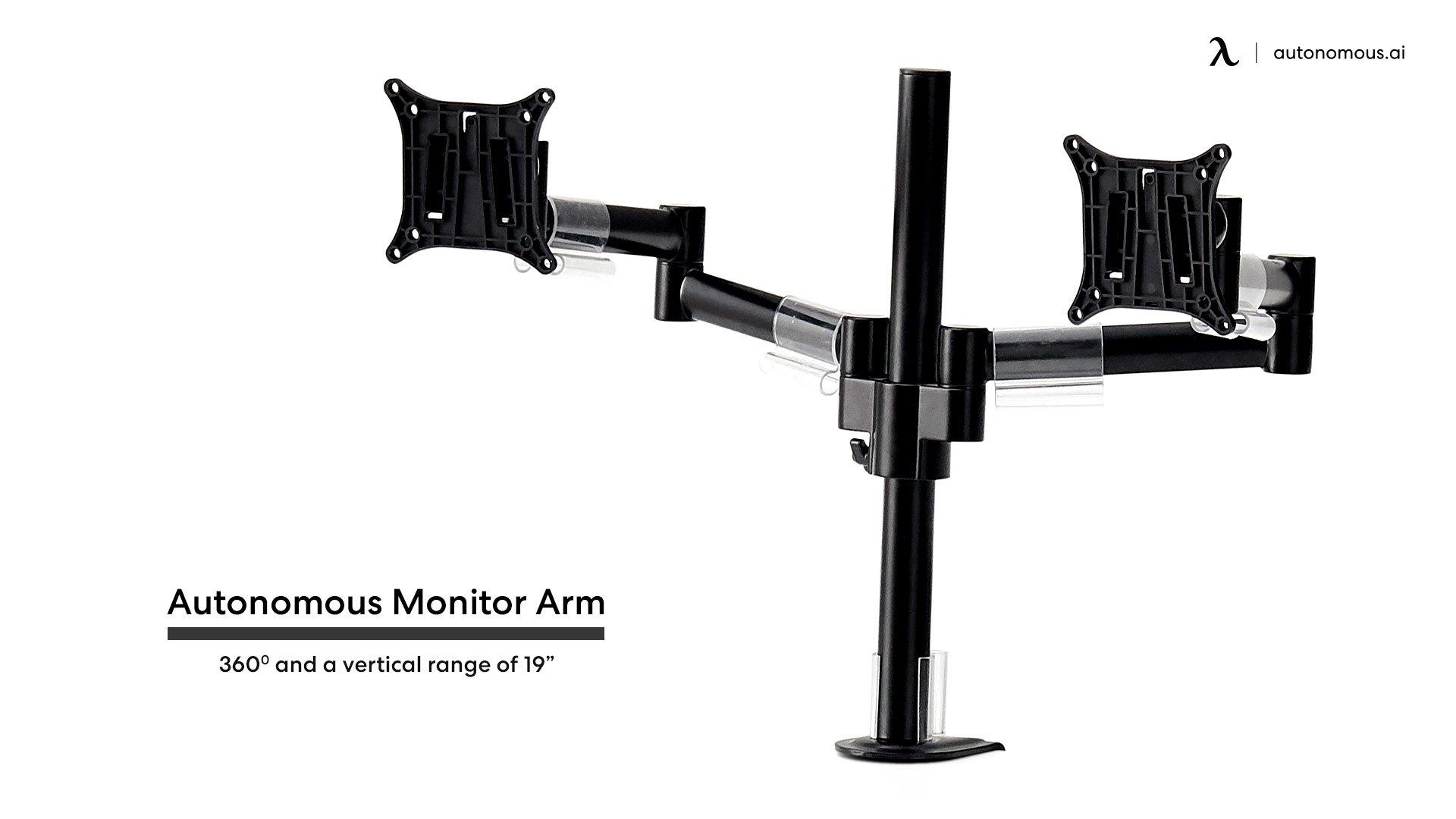 Autonomous adjustable monitor arm