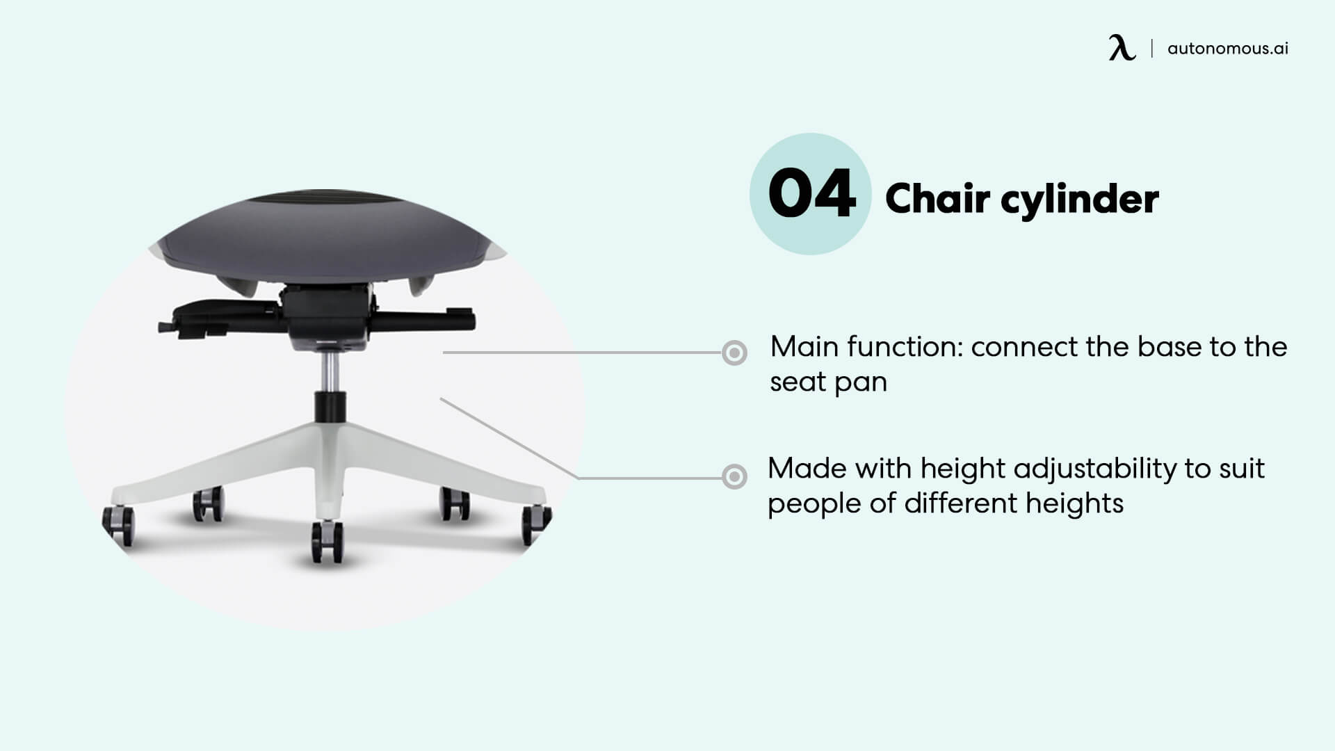 Chair cylinder connect the base and seat pan