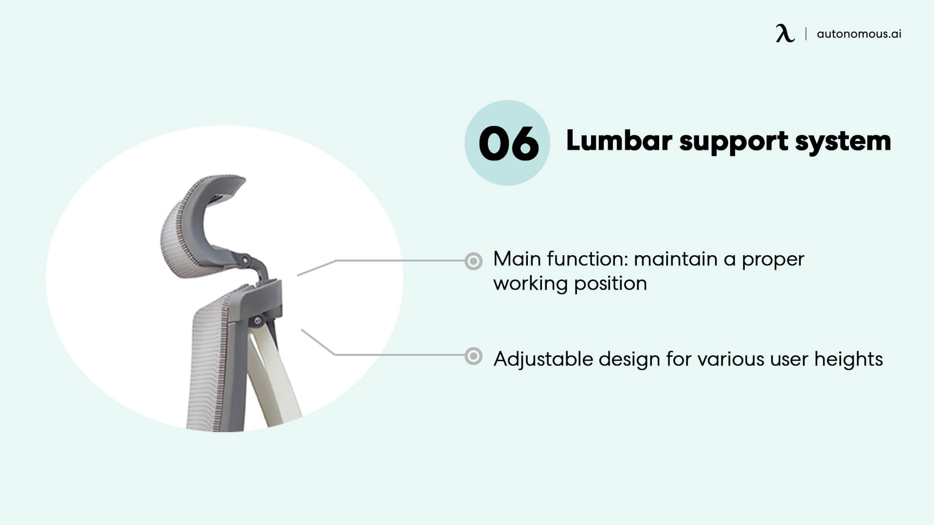 Lumbar support part helps adjust your sitting posture