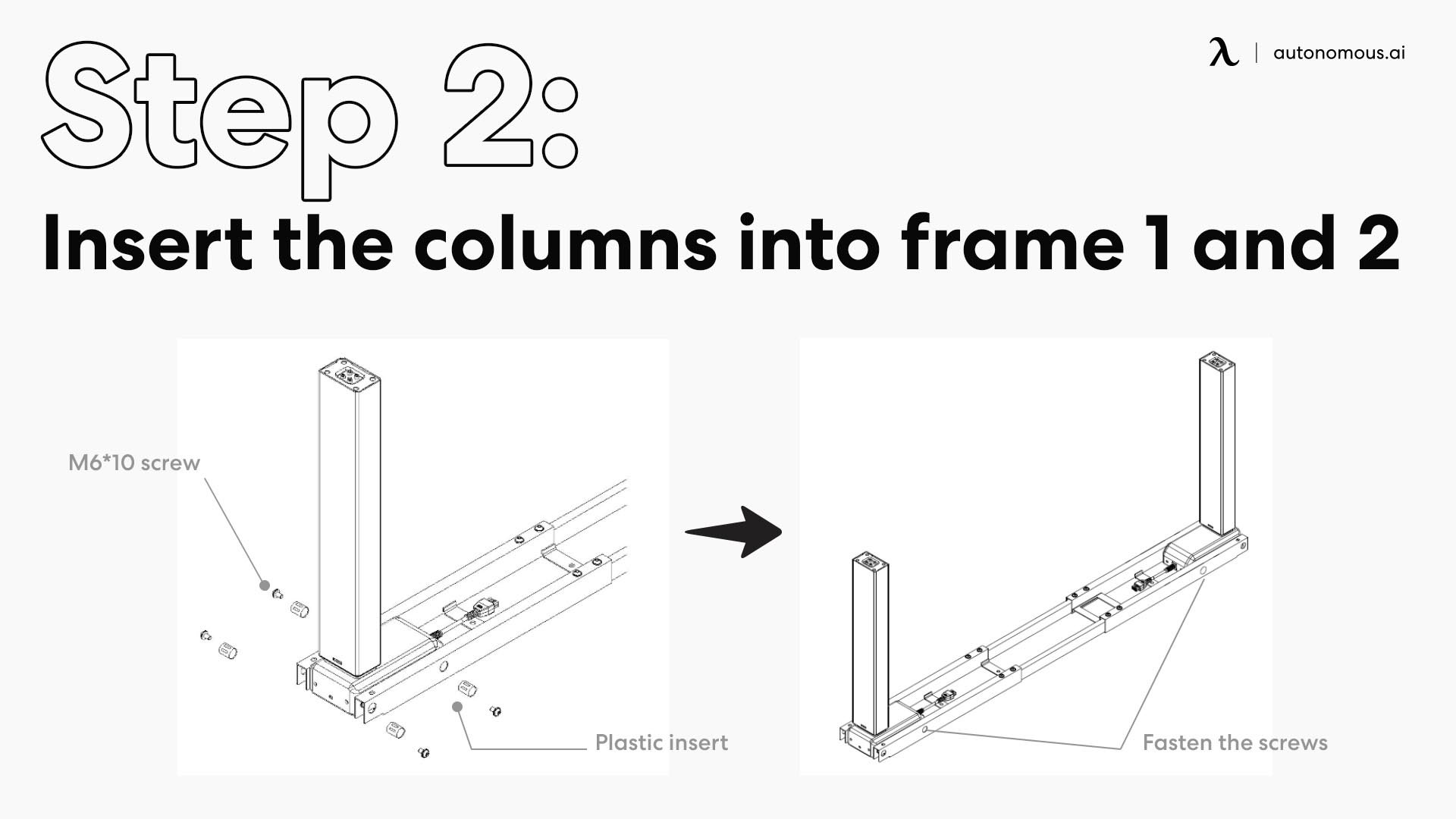 Insert the columns into frame 1 and 2
