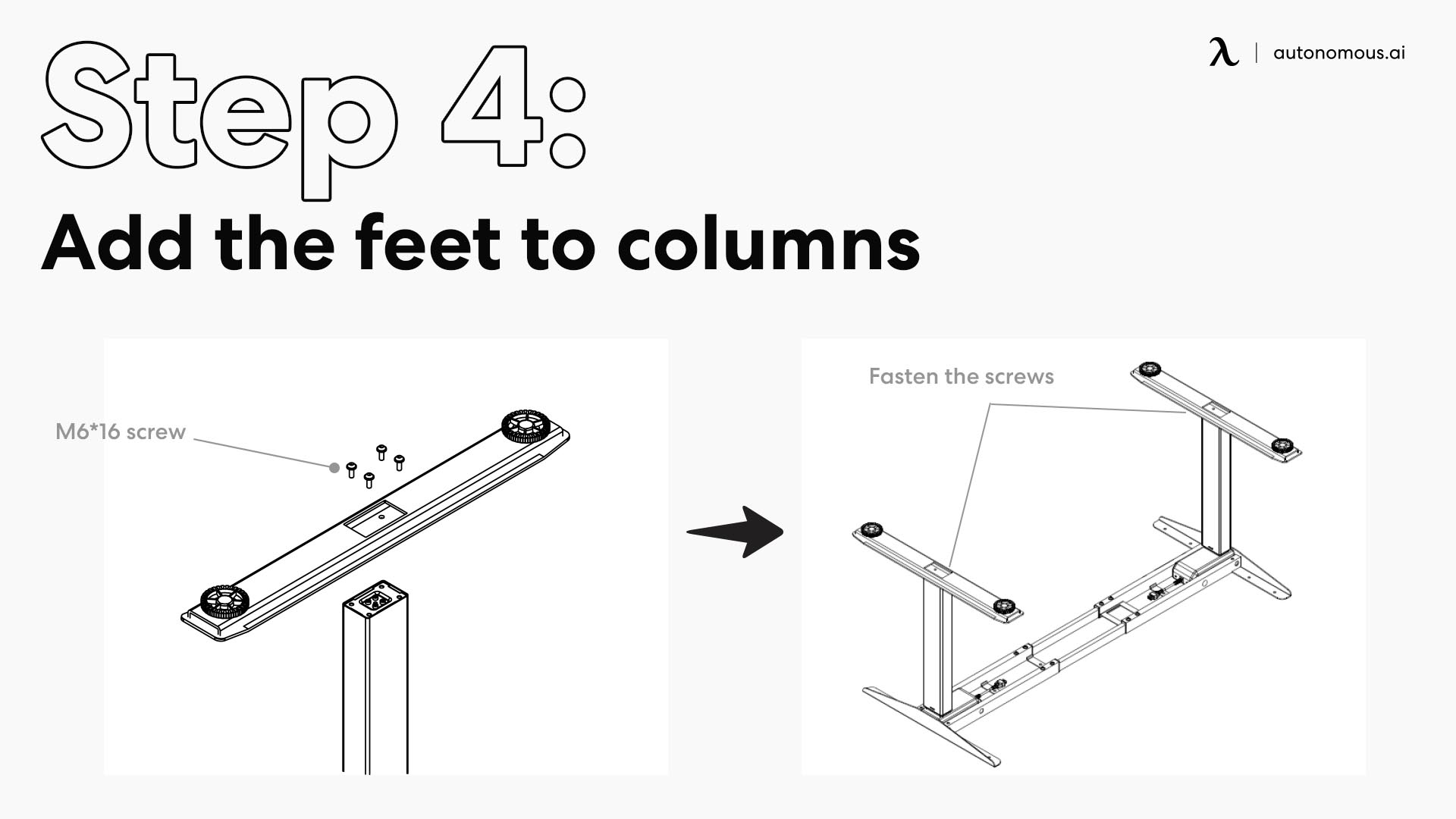Add the feet to columns