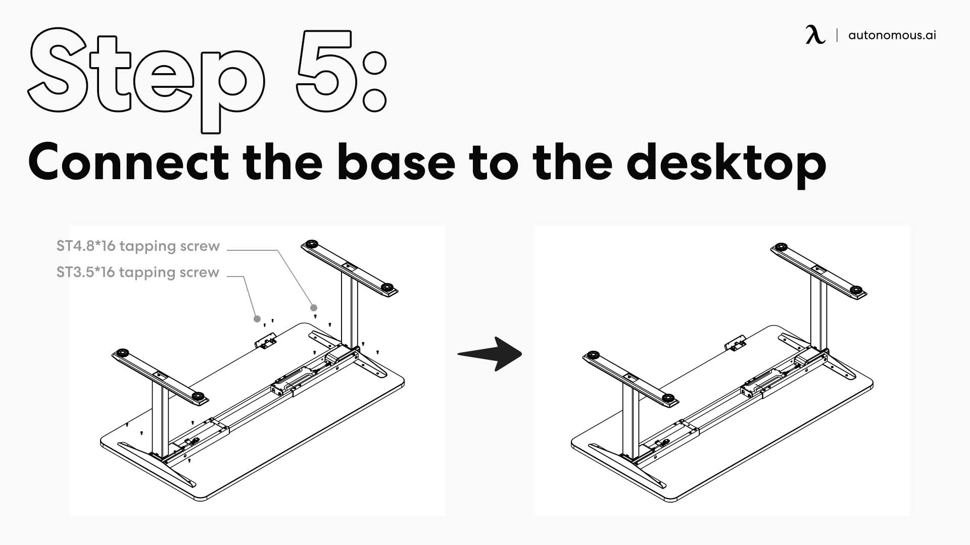 Connect the base to the desktop