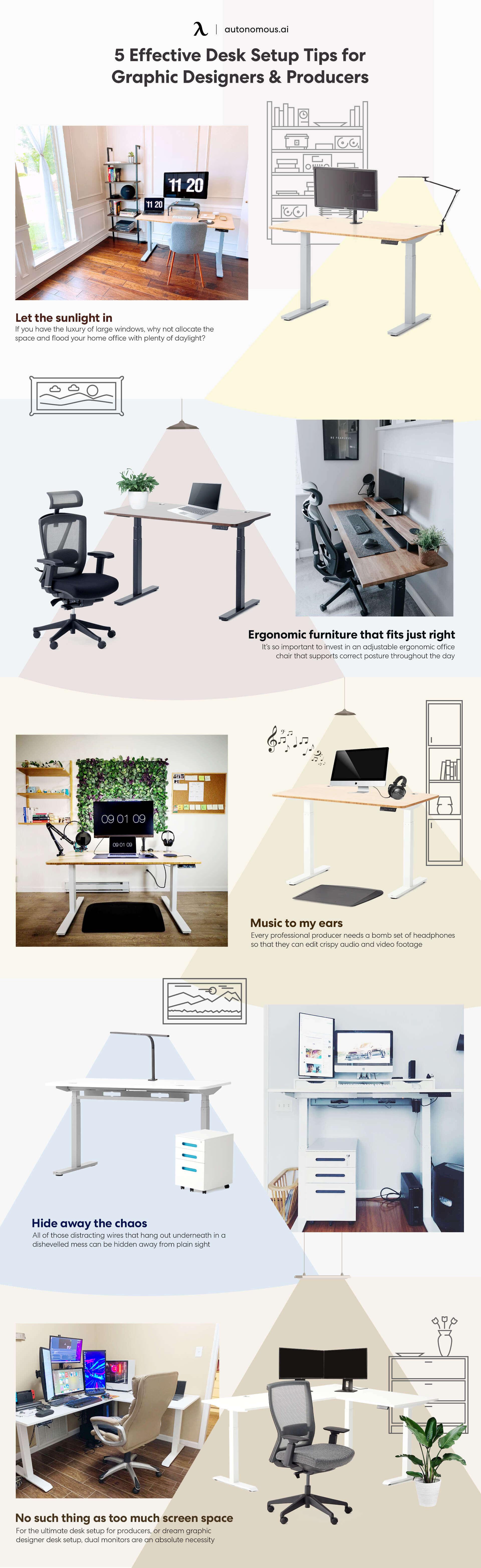 Desk setup for graphic designer and producer