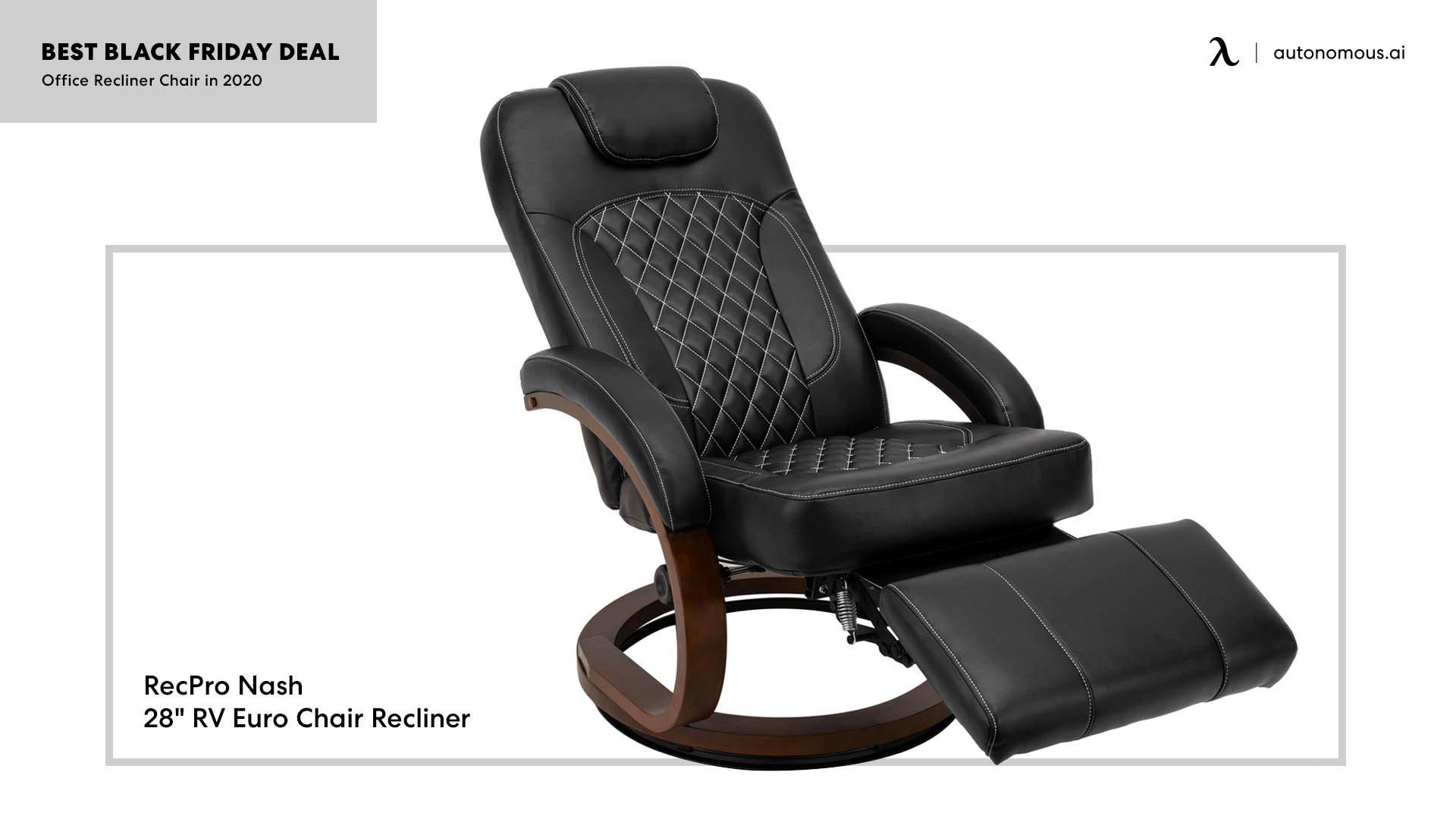 "RecPro Nash 28"" RV Euro Chair Recliner in Black RV Furniture"