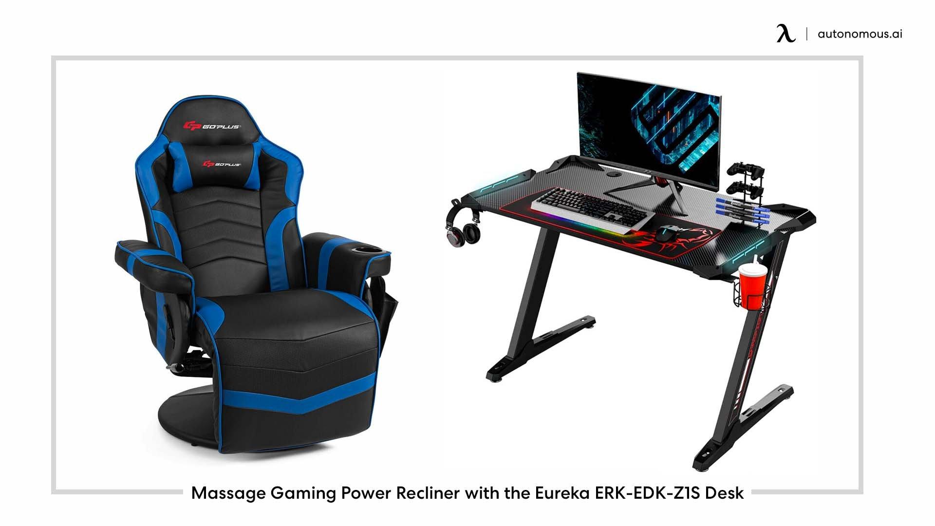 Massage Gaming Power Recliner with the Eureka ERK-EDK-Z1S Desk