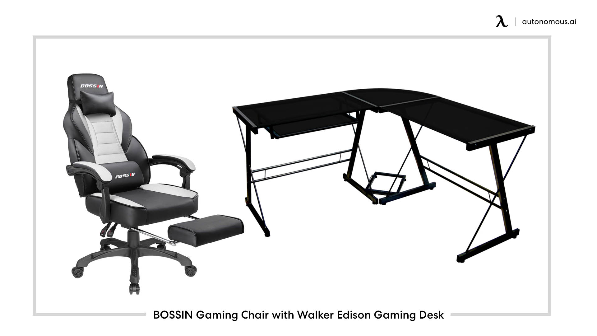 BOSSIN Gaming Chair with Walker Edison Gaming Desk