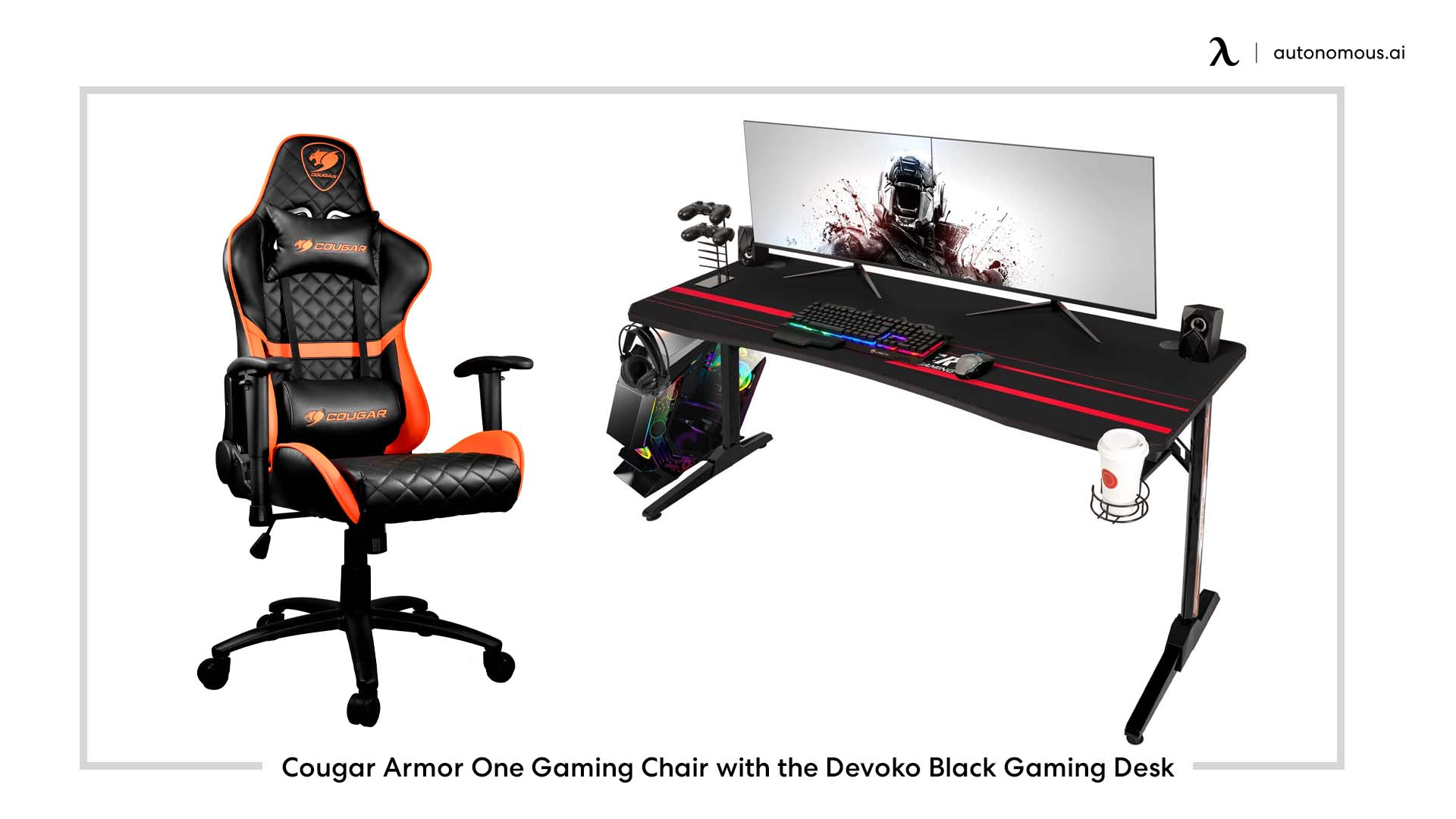 Cougar Armor One Gaming Chair with the Devoko Black Gaming Desk