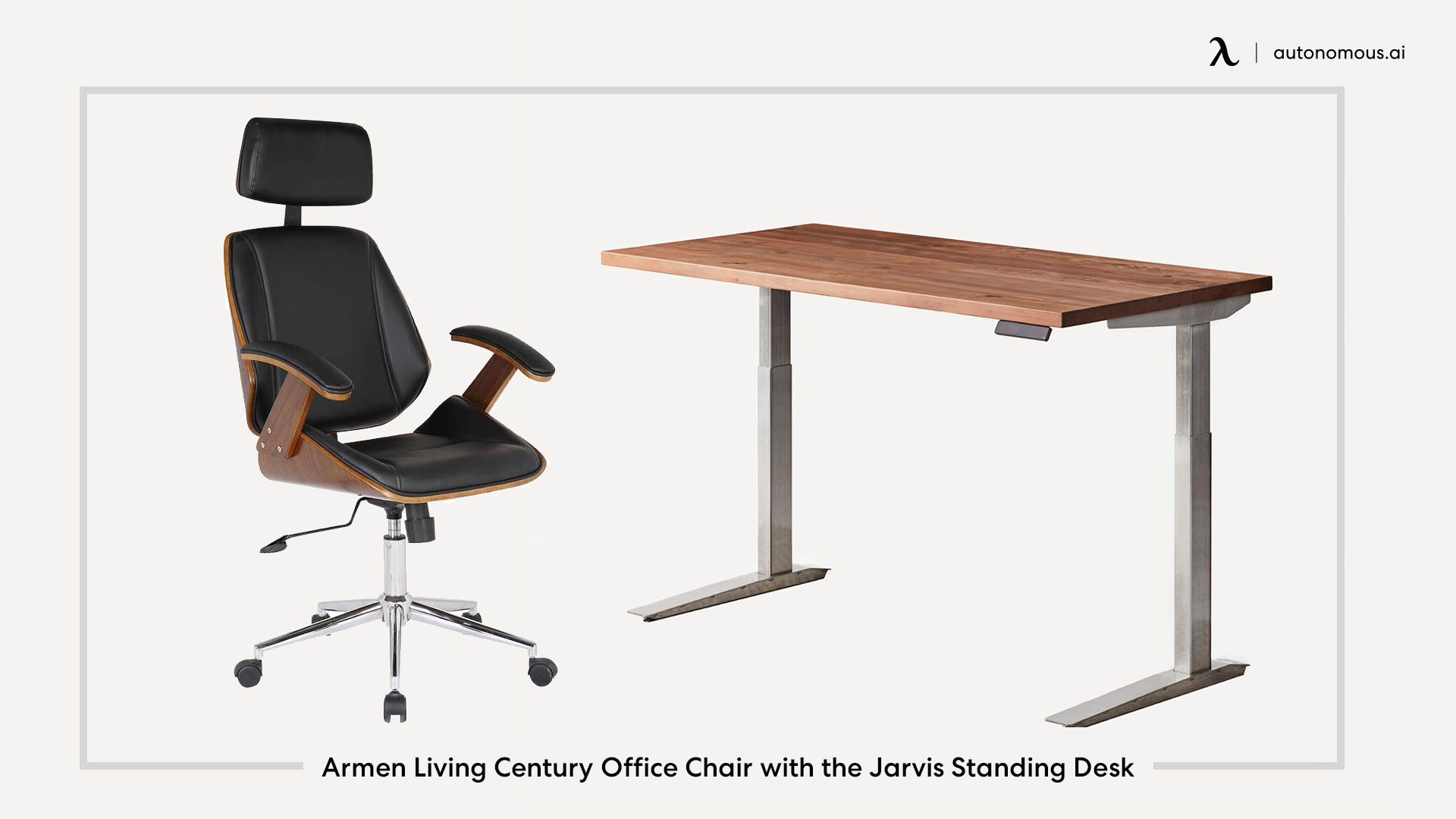 Armen Living Century Office Chair with the Jarvis Standing Desk