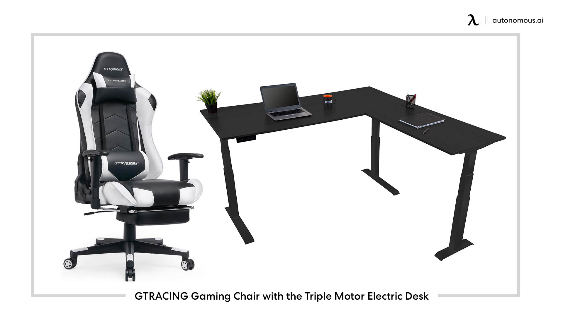 black heavy-duty GTRACING chair and Triple Motor desk combination