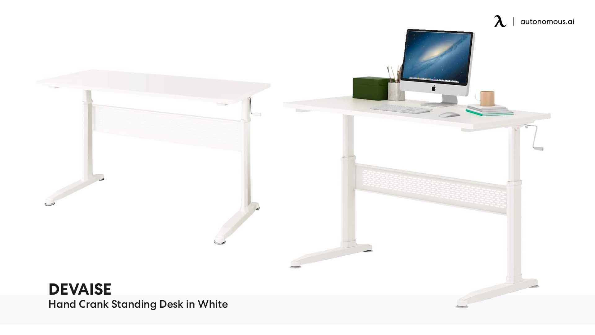 DEVAISE Hand Crank Standing Desk in White