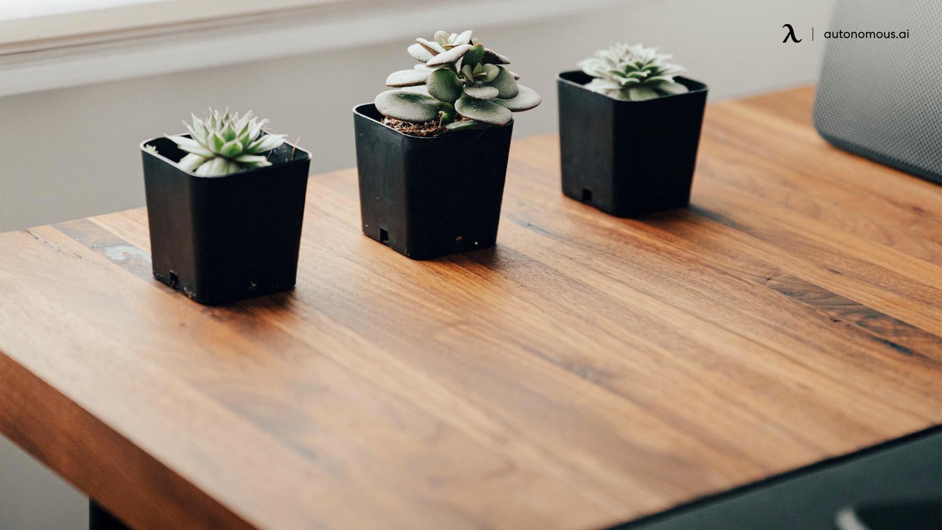 A solid wood adjustable height desk