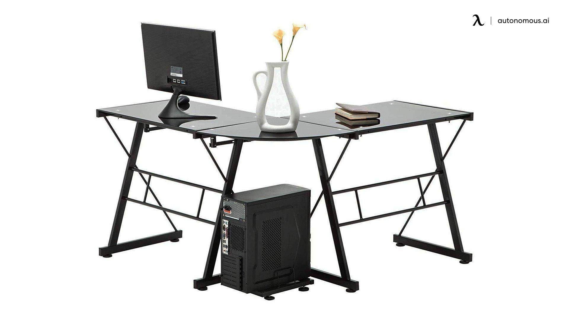Mecor L Shaped Tempered Glass Computer Desk