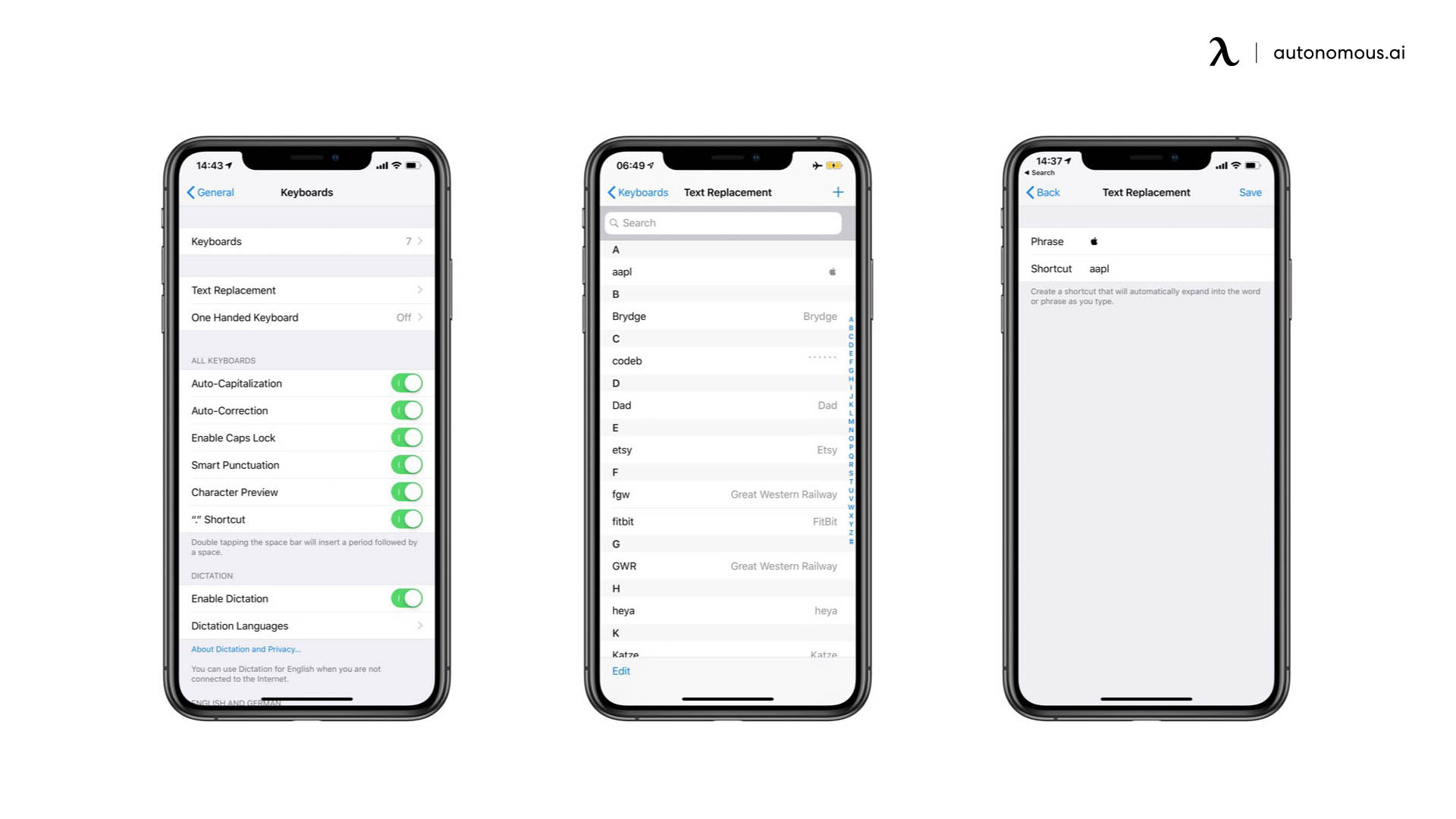 Set up Text Replacement shortcuts