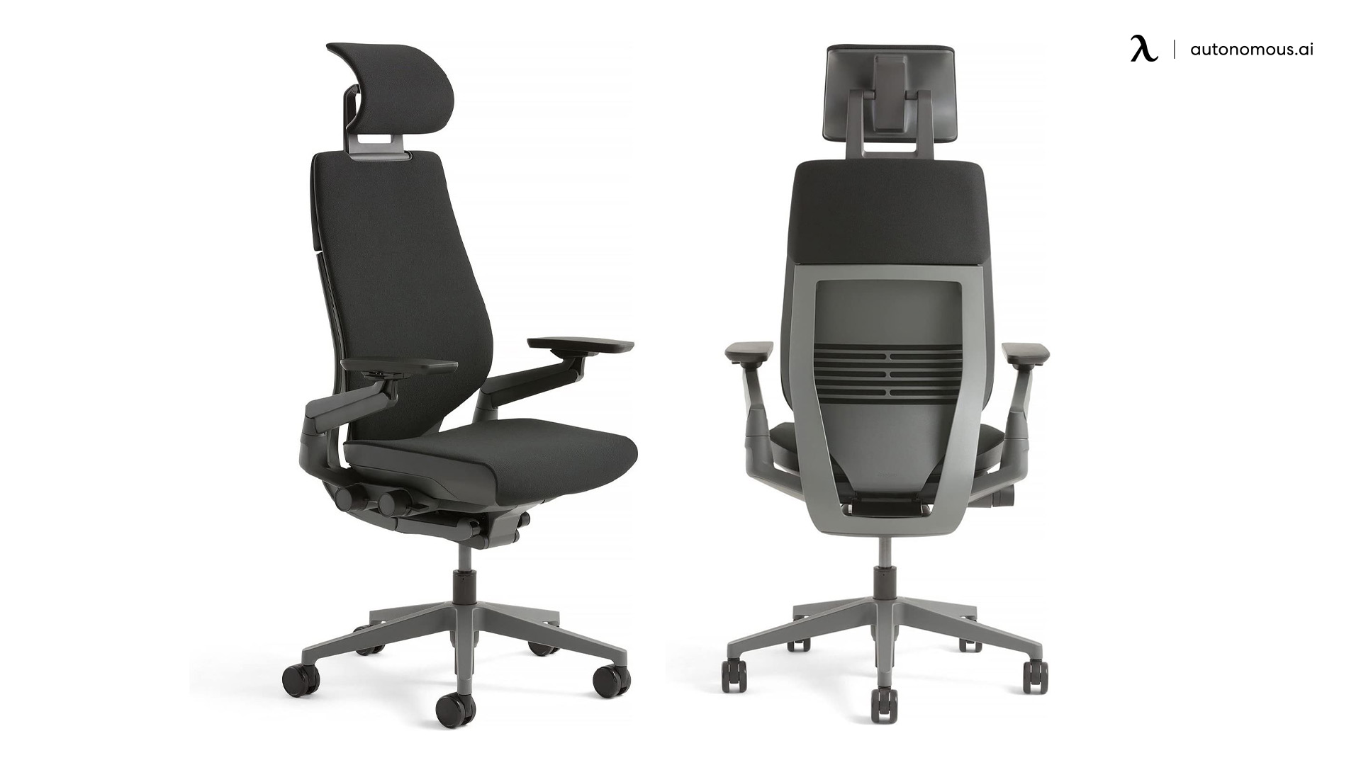 steelcase gesture black chair with headrest features