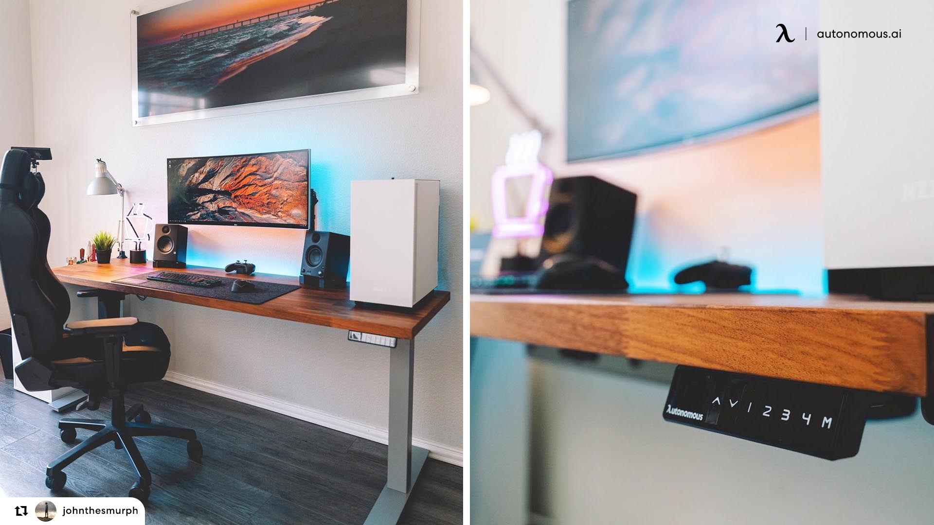Electric powered standing desk
